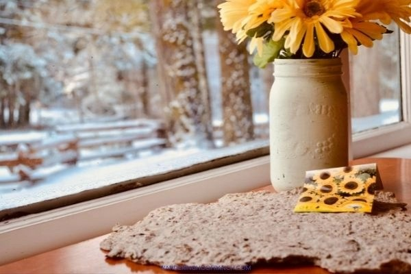 plantable seed paper resting on table with sunflower seeds, mason jar case and snowy window scene