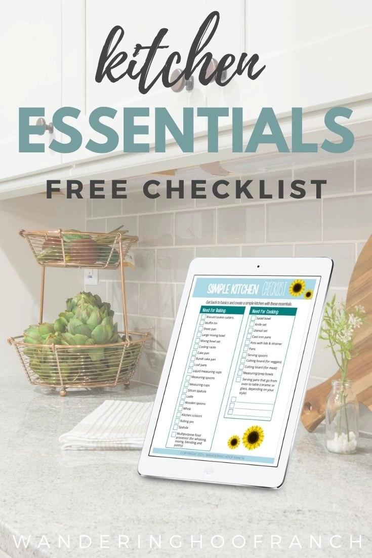 Simple Kitchen Checklist on iPad sitting on kitchen counter as part of the kitchen essentials free checklist pin