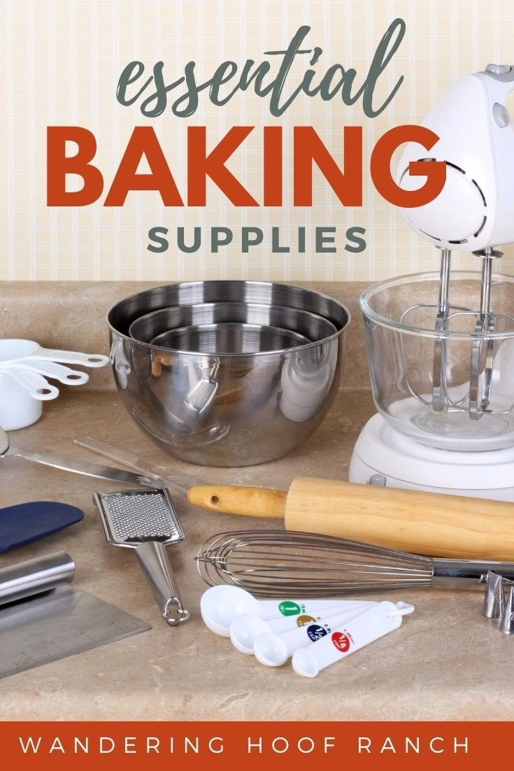 Essential baking supplies you need in your simple kitchen including mixing bowls, measuring cups and spoons, mixer, spatula, rolling pin and whisk sitting on kitchen counter