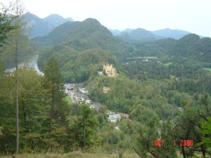 view from Neuschwanstein of other castle