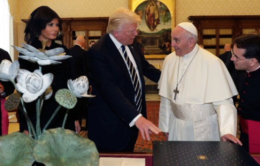 Pope Francis exchanges gifts with President Trump and First Lady Melania Trump at the Vatican on May 24, 2017. Alessandra Tarantino—Pool/AP