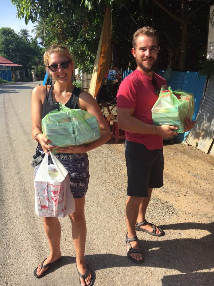 Bringing school supplies and snacks for the children