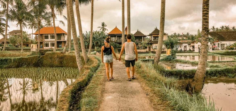 walking the rice fields of Ubud, Bali