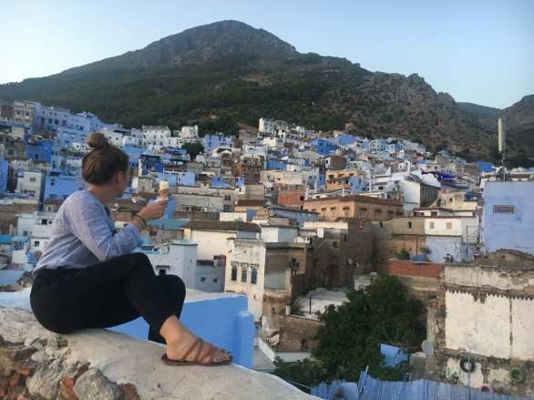 rooftop views of the blue city of Chefchaouen