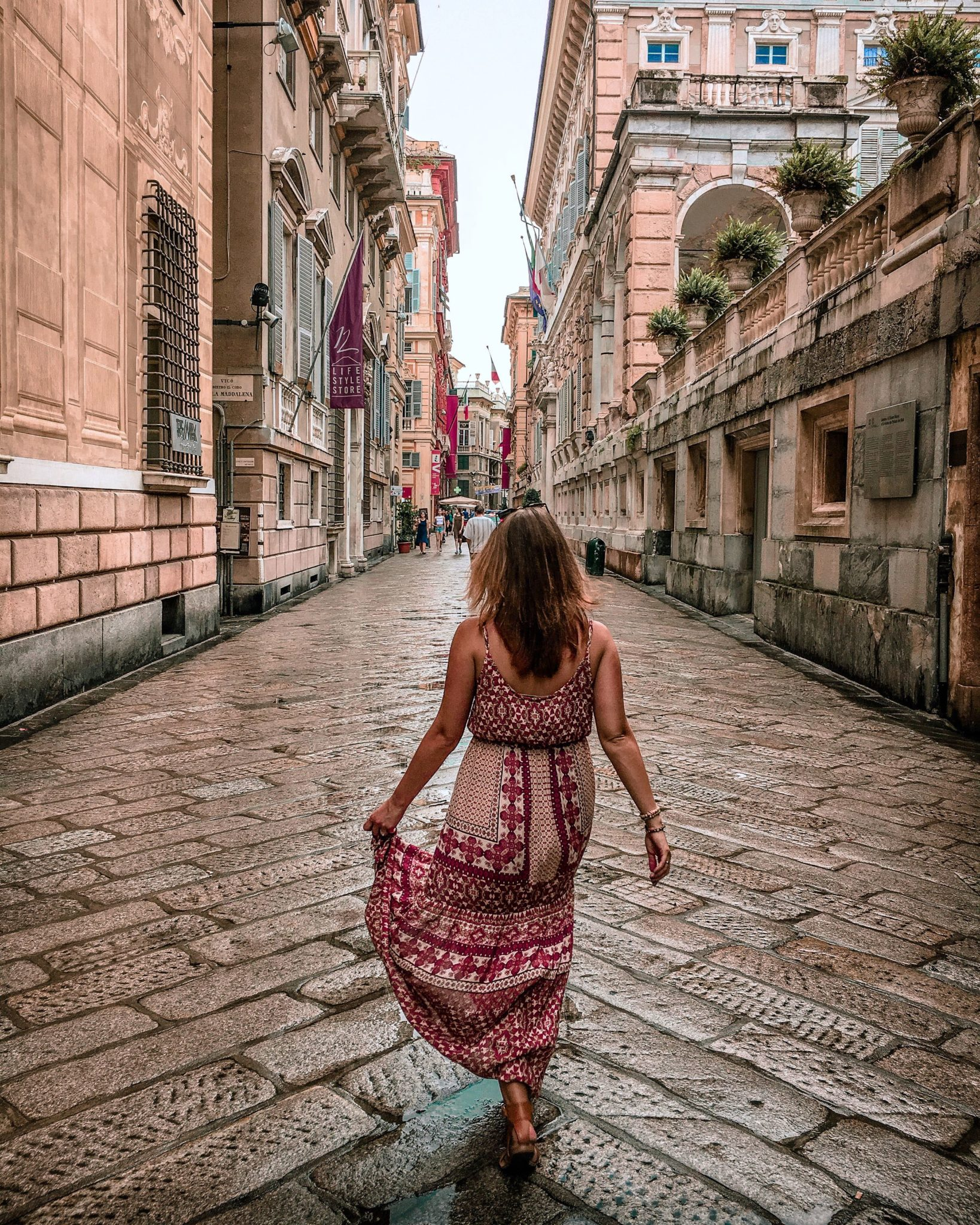 Strolling down Via Garibaldi during our 10 days in Italy