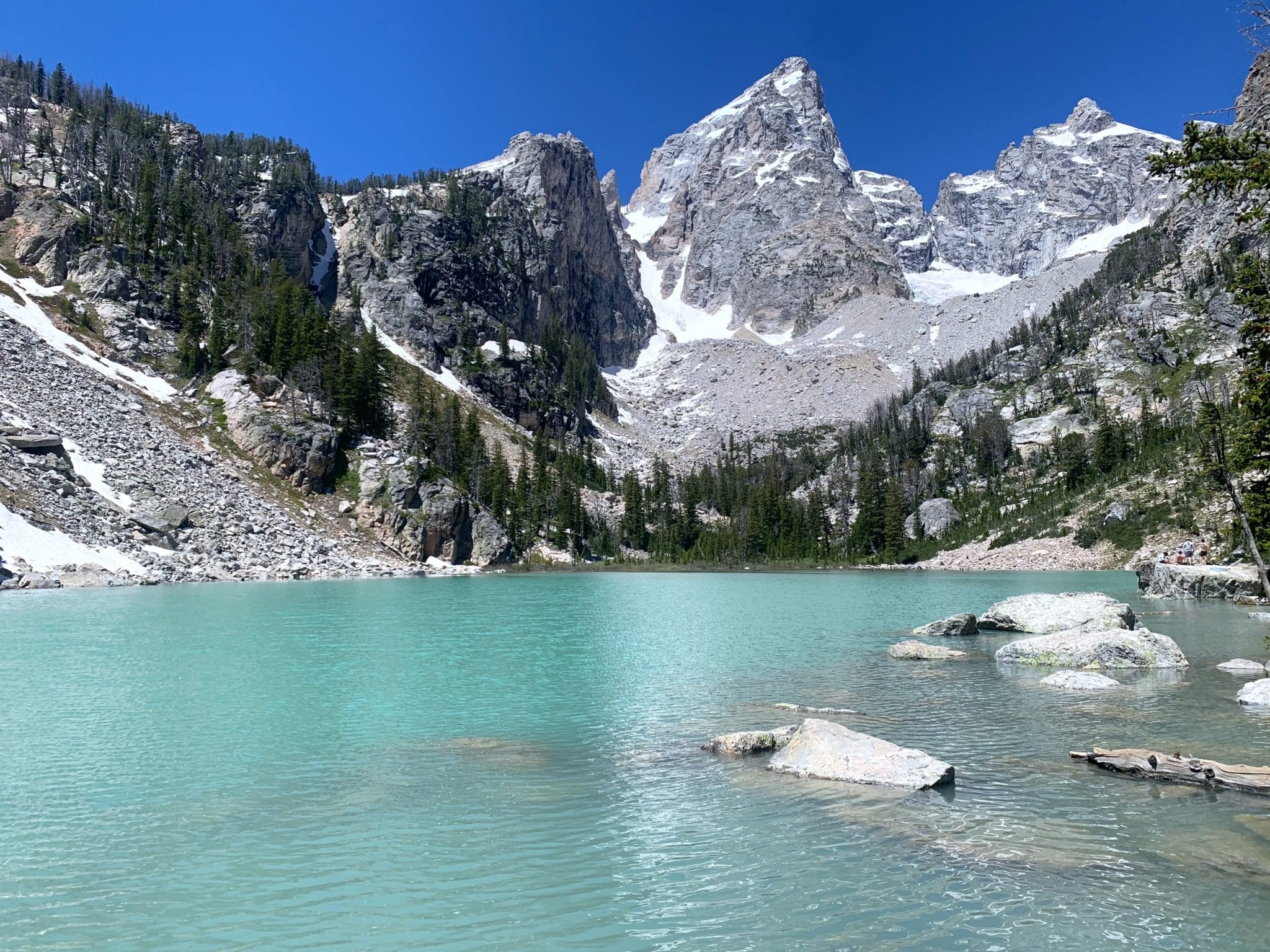 The beautiful Delta Lake in Grand Tetons NP