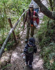 A woman and a young boy walk up a path through the jungle - Legend of El Dorado in Colombia