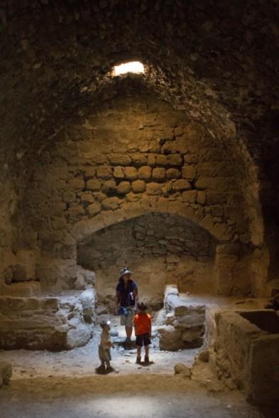 Family in catacombs of Karak Castle