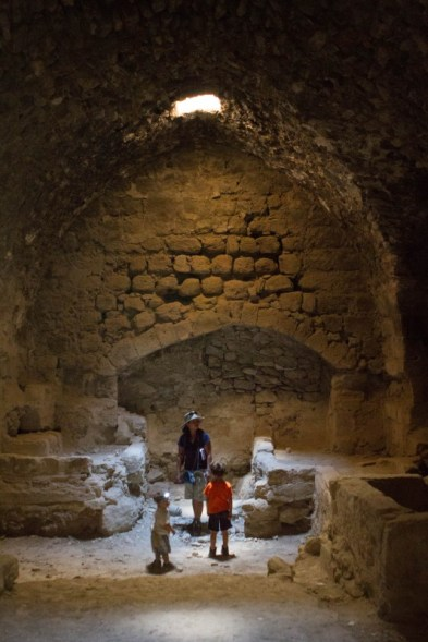 Family in catacombs of Karak Castle