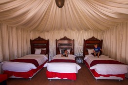 Two young boys jump on the beds of a luxury tent