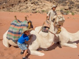Young boy hugs a camel in Wadi Rum