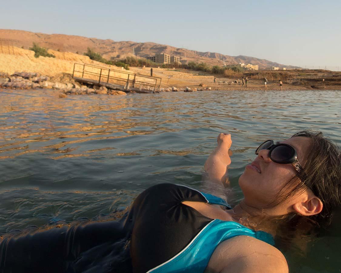Christina Wagar floating on the Dead Sea in Jordan