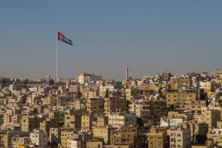 Jordanian flag flying over Amman