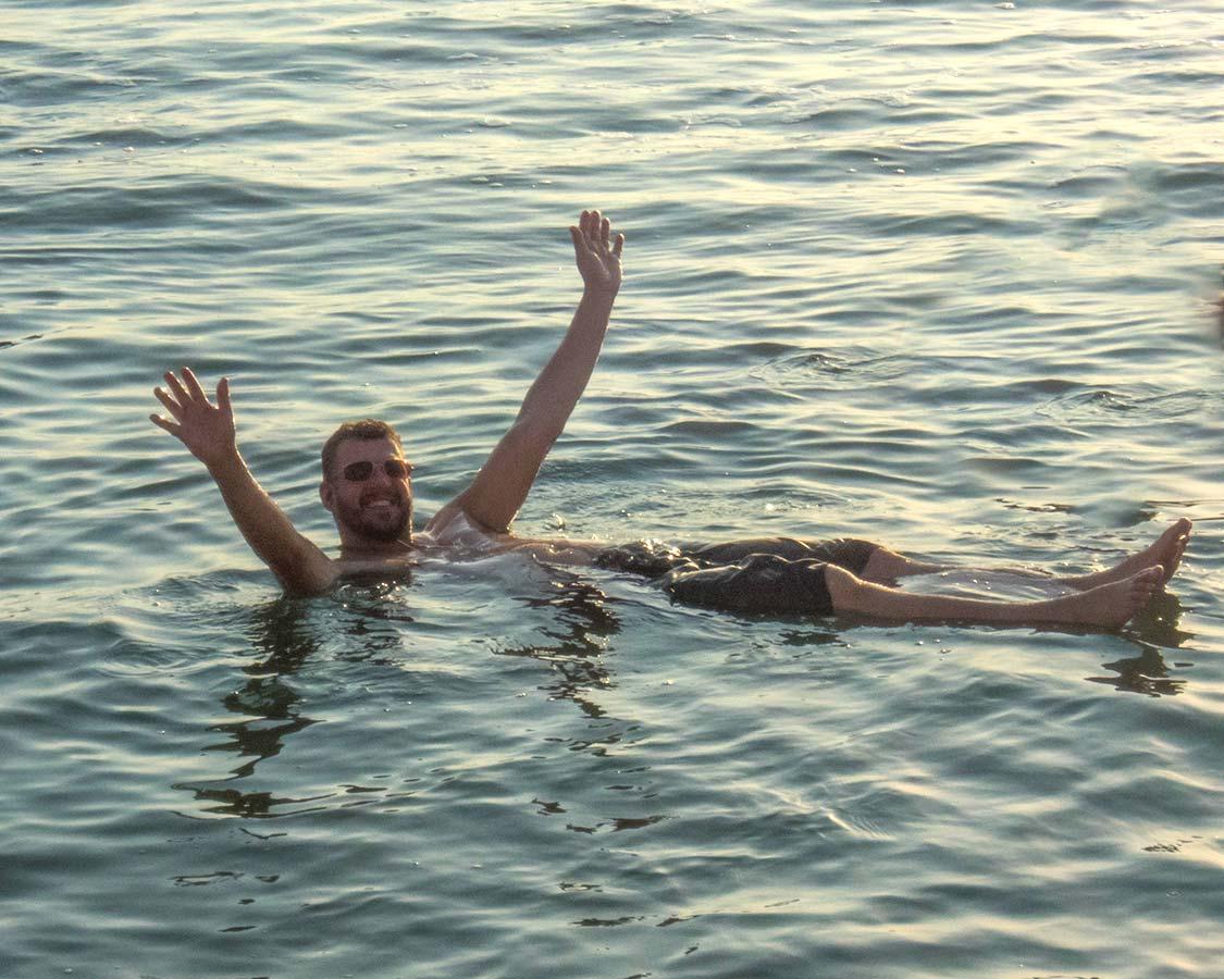 Kevin Wagar floating in the Jordan Dead Sea Resorts