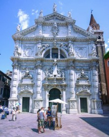 Beautiful white building with intricate details in St. Marks square - lost in Venice