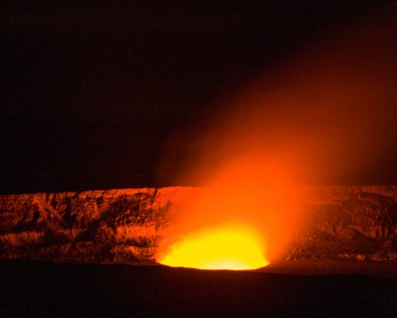 The Halema'uma'u crater is glowing at Hawaii Volcanoes National Park.