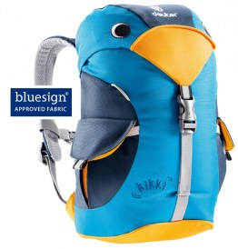 A blue children's backpack shaped like a bird