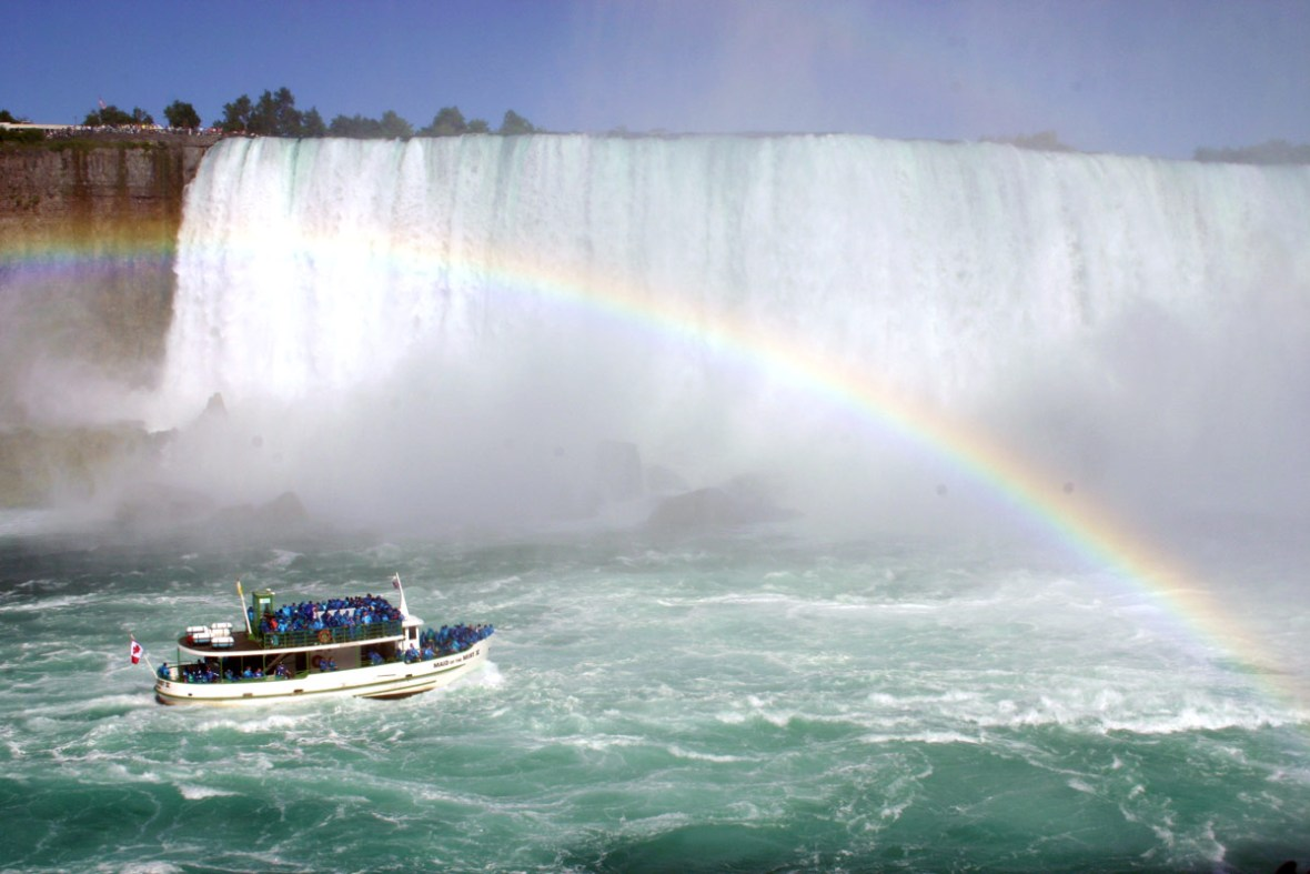View of Horseshoe Falls with sightseeing boat which is one of our bucket list destinations in Canada