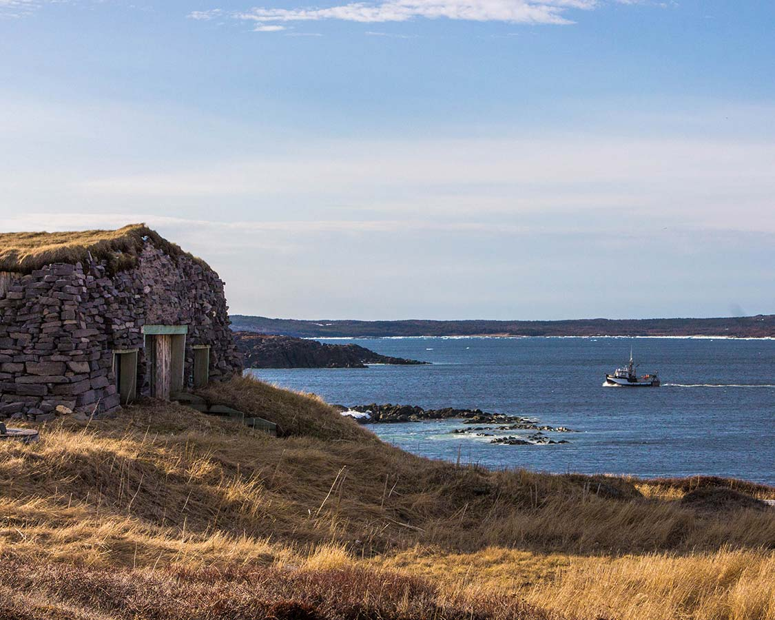Stone Building and fishing boat in St Anthony Newfoundland