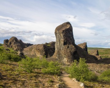 basalt columns poke from the earth at strange angles - An Epic 14 Day Iceland Itinerary