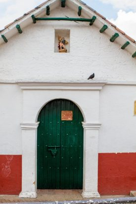 Front entrance of one of the oldest churches in Colombia is in La Candelaria.