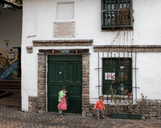Front facade of the oldest building in Bogota is in La Candelaria.