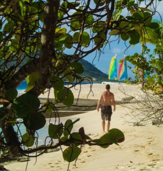 A man strolls down a beach while framed by palm trees - Swimming with turtles in the Tobago Cays