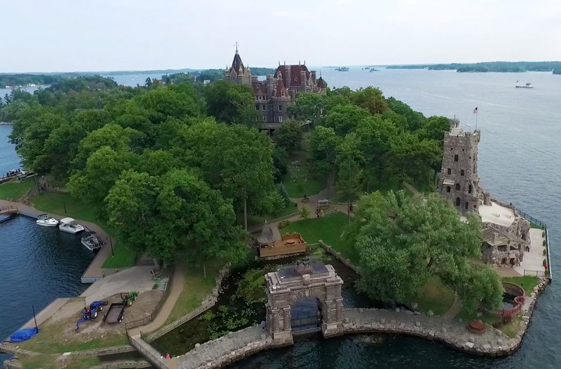Overview of Heart Island which contains Boldt Castle, one of two castles in the Thousand Islands National Park.