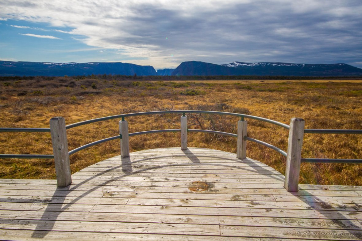 Low lying bogs give way to the Long range mountains at the tip of Western Brook Pond in Gros Morne National Park