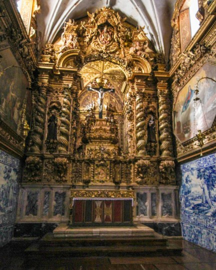 Gilded altar at the Church of St. Francis, a stop in our day trip to Evora, Portugal.