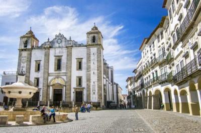 The main square of Evora, Portugal