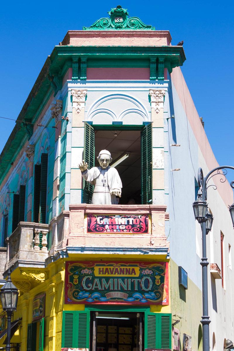 Statue of the Pope in a balcony at El Caminito in La Boca district.