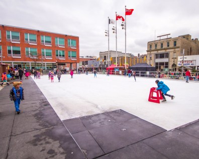A skating rink at the Christkindle Christmas Market in Kitchener, Ontario