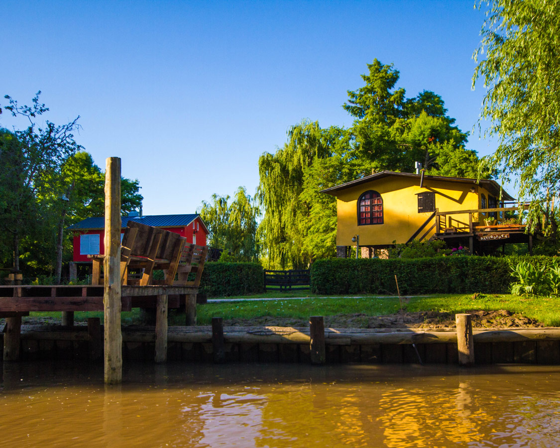 Colourful stilt houses along the Delta Parana in Tigre