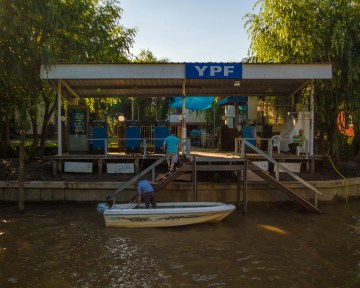 Filling up at the gas station along the delta Parana in Tigre, Argentina