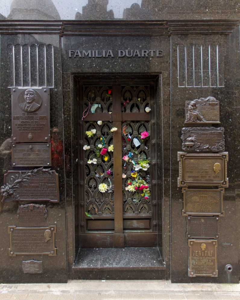 The Duarte Family grave in Recoleta cemetery houses the remains of Eva Peron.