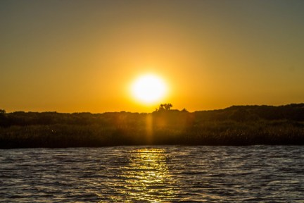 Sunset over the delta Parana in Tigre, Argentina