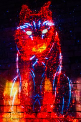 Illuminated image of a bobcat at Lumina Borealis.