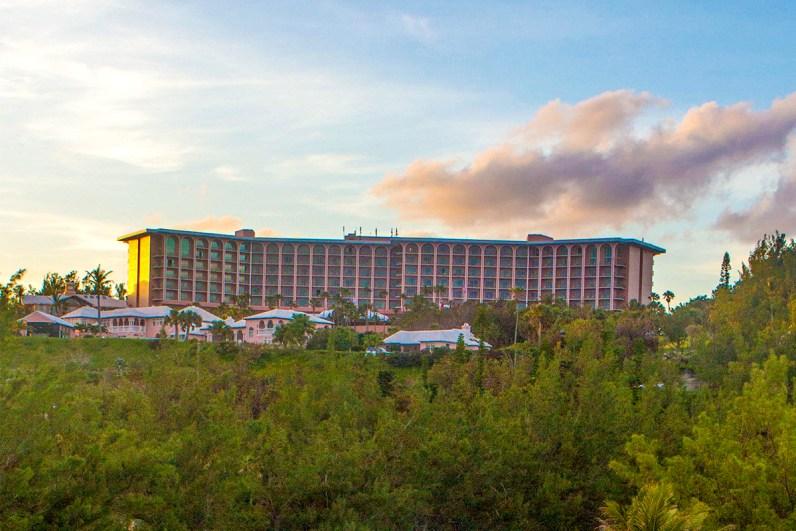 View of Fairmont Southampton Hotel from Horseshoe Bay Beach.