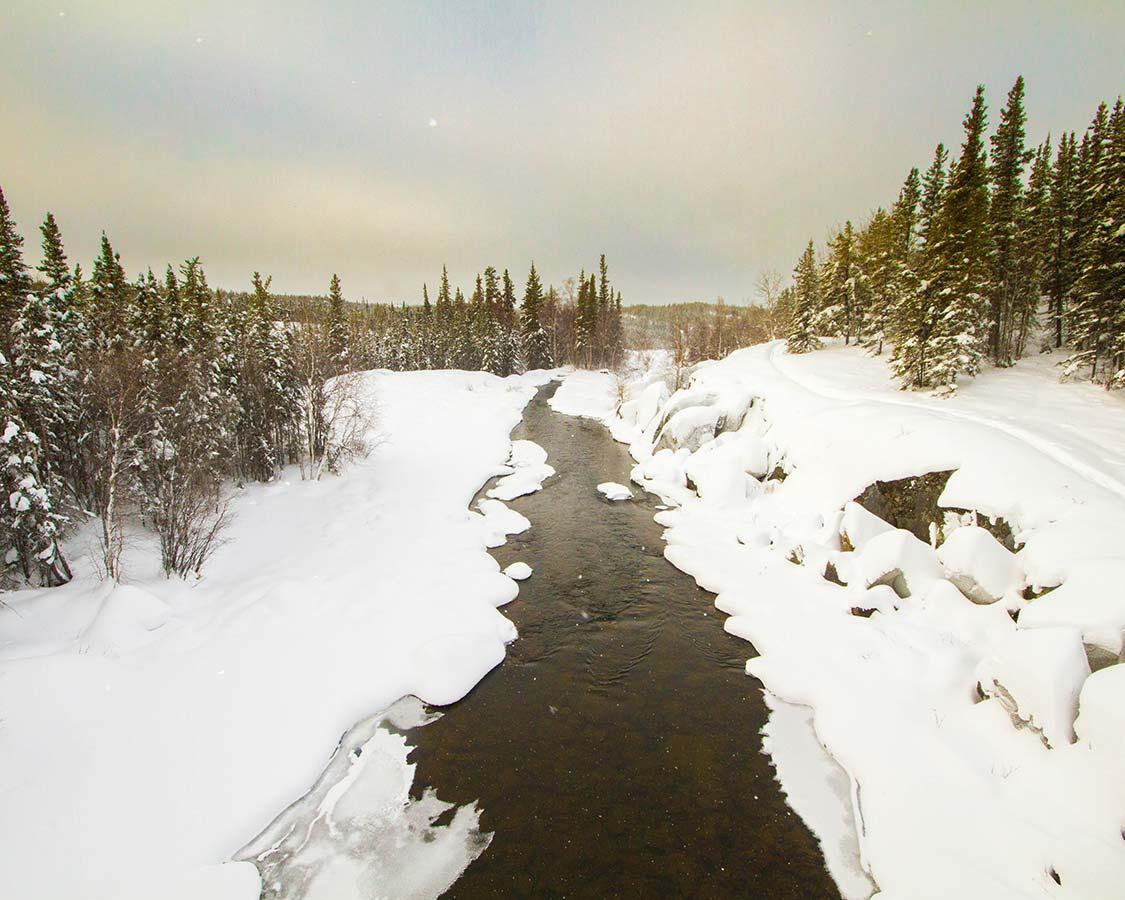 Winter hiking in Yellowknife Cameron Falls Trail