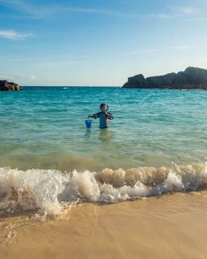 Boy snorkeling in the Atlantic waters off the coast of Bermuda.