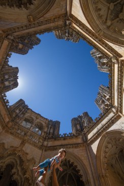 Looking up at the open ceiling of the Unfinished Chapels in the Monastery of Batalha, Portugal.