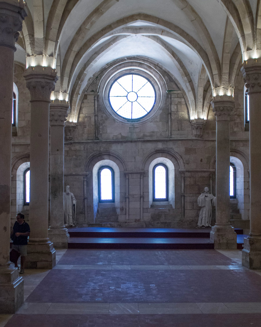 The refectory or dining room of the monks in Alcobaca Monastery, Portugal.