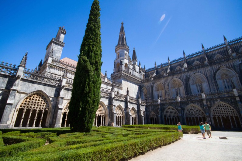 The impeccably manicured gardens. of Batalha Monastery in Portugal.
