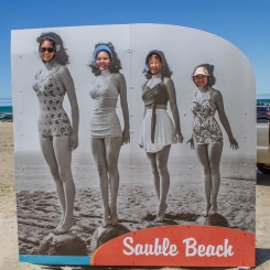 Posing in a retro billboard at Sauble Beach.