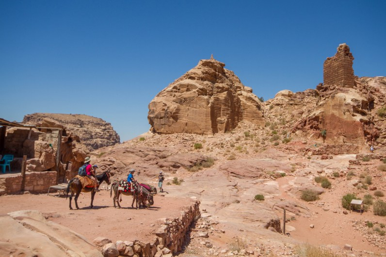 A family parks their horses on a plateau below the high place of sacrifice as they explore what to see in Petra with kids
