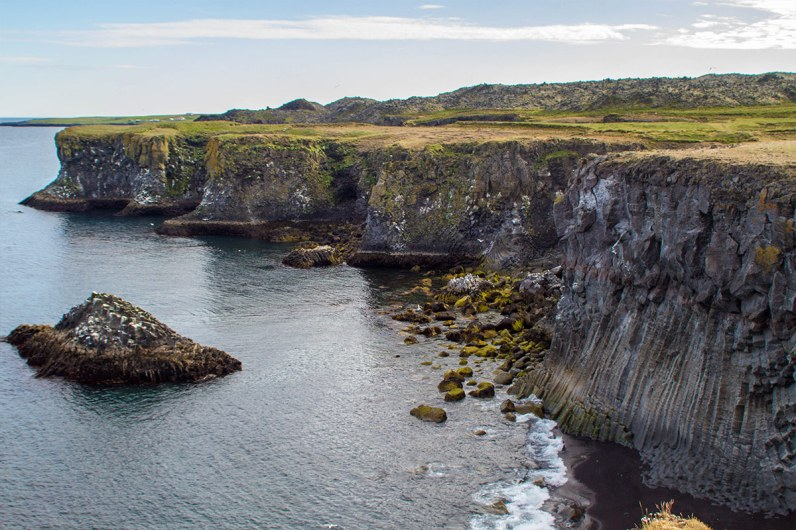 Tall basalt cliffs topped with bright green grass rising from the atlantic ocean make Hellnar a great family friendly hike in iceland