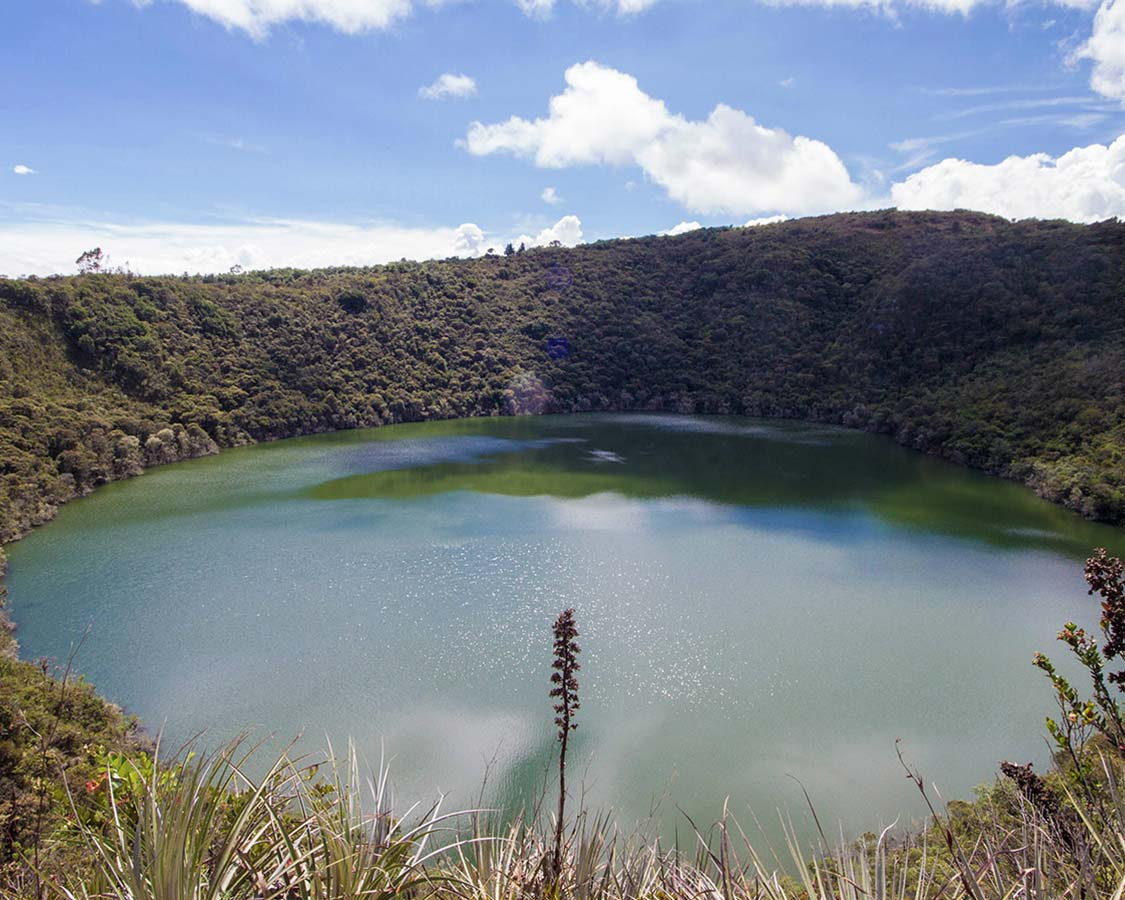A crystal clear crater lake surround by thick jungle - Legend of El Dorado in Colombia