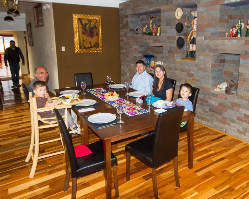 Enjoying a family lunch at Casa Tatiana in the Sacred Valley Peru