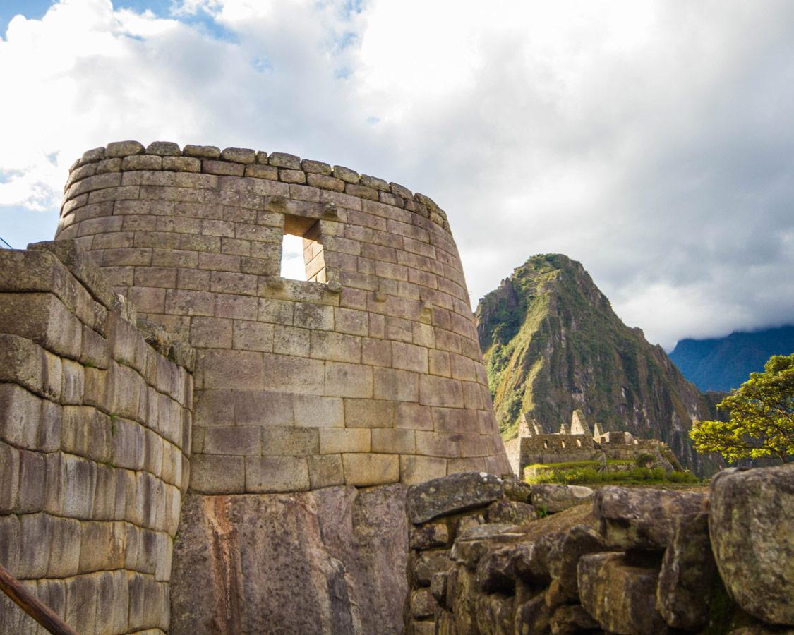 Peru with kids - Temple of the Sun at Machu Picchu.